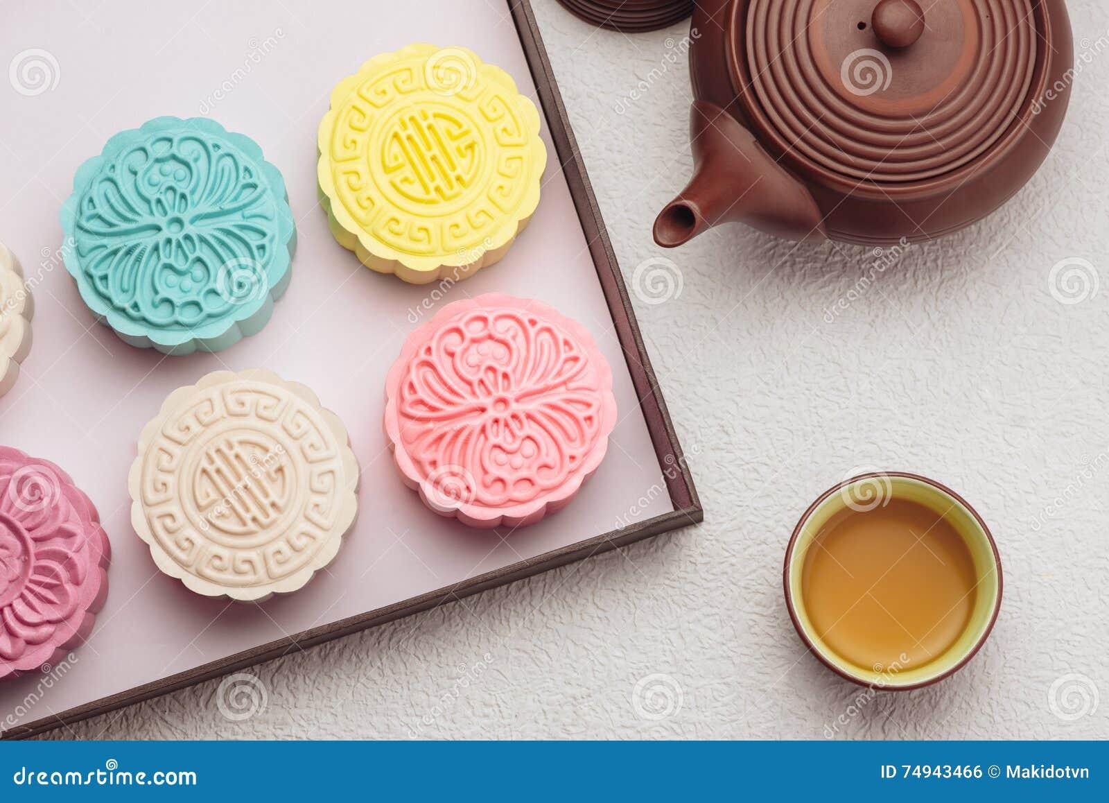 Mooncake i herbata, Chiński w połowie jesień festiwalu jedzenie Kąta widok od above