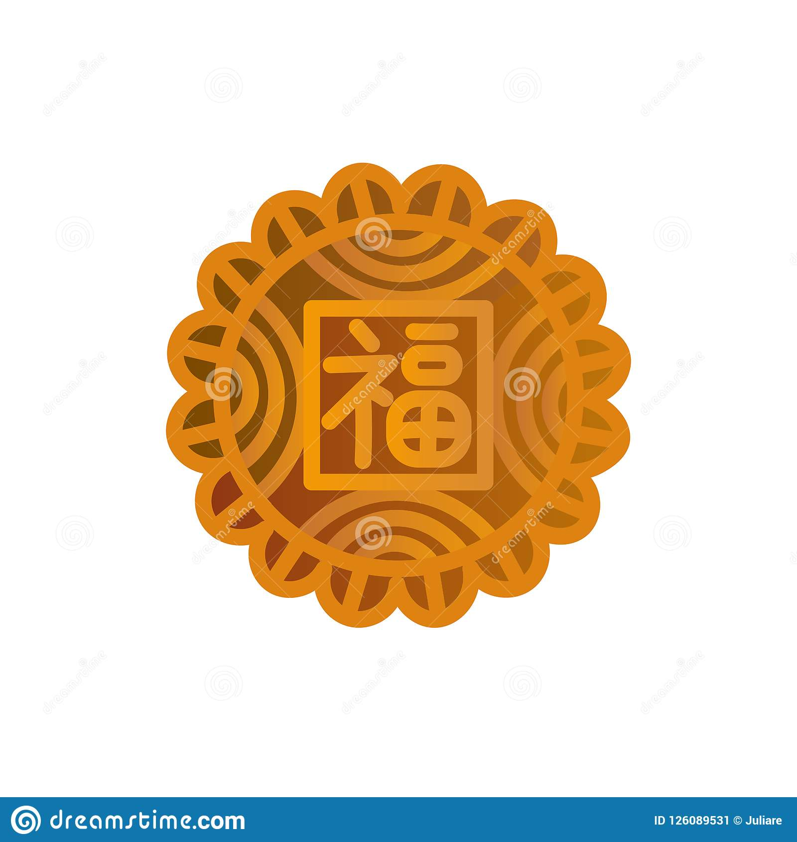 Mooncake Icon Design Chinese Mid Autumn Festival Symbol With A