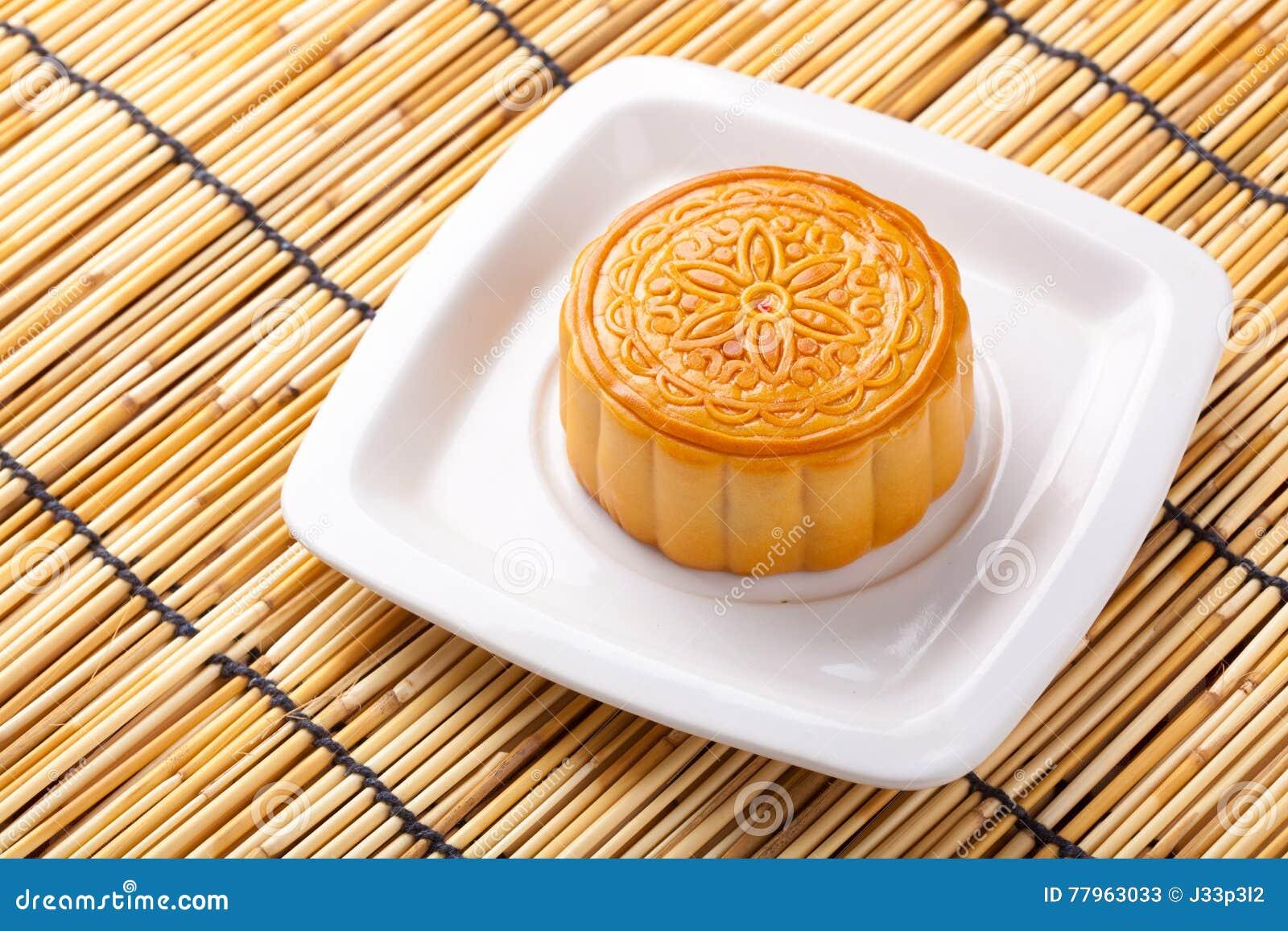 Mooncake And Tea On Bamboo Background Stock Image - Image of