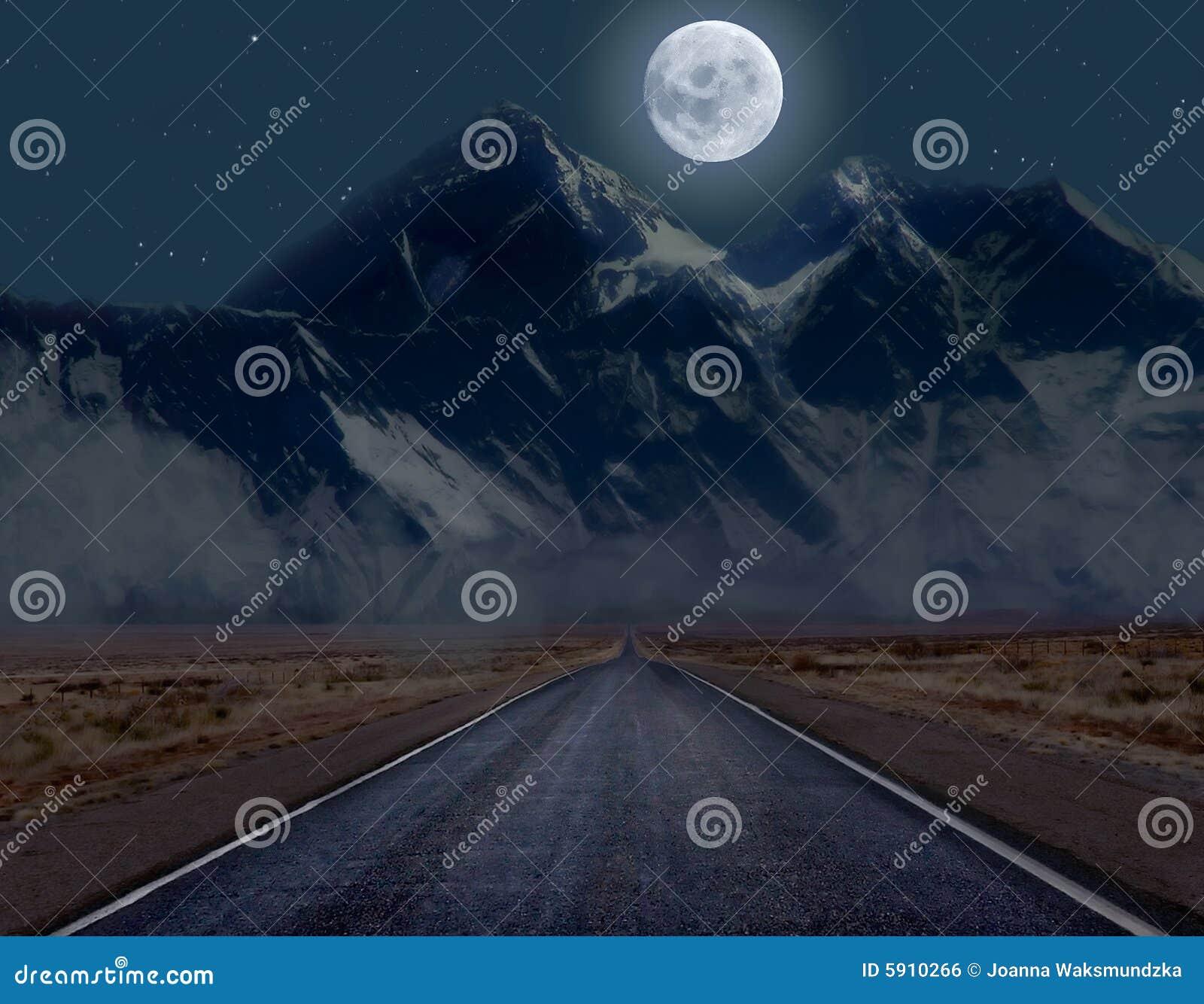 Moonlit mountain road