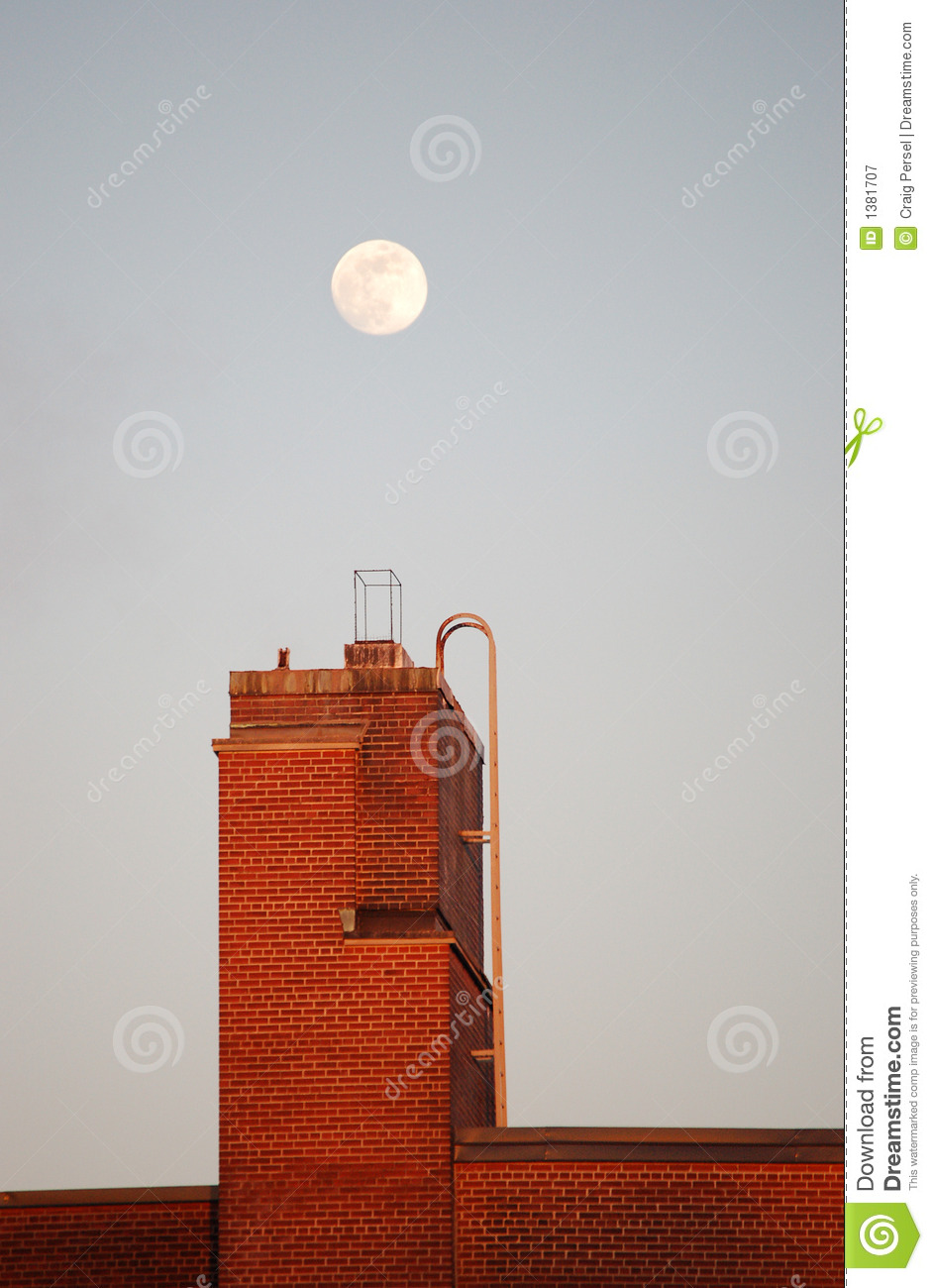 Moonrise Over Building
