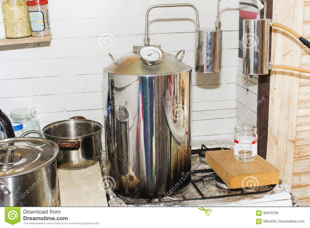 Moonshine still in action, at home