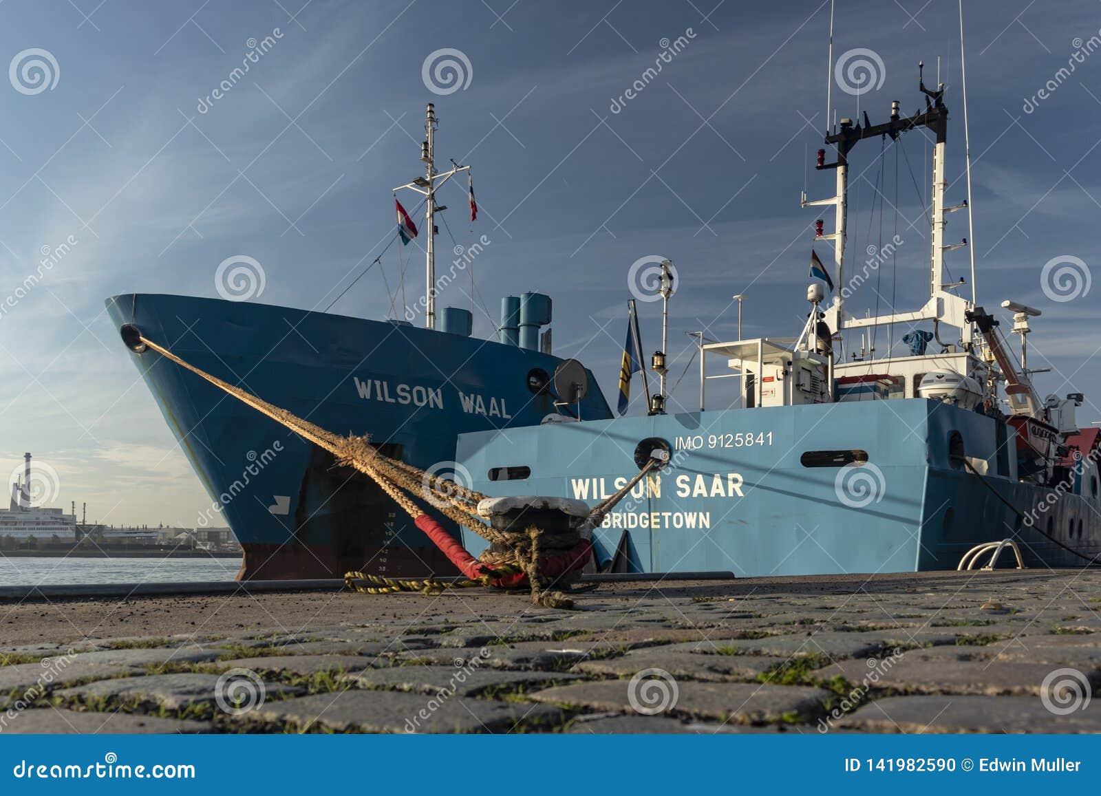 Moord de duas embarcações ao lado de se cais Rotterdam