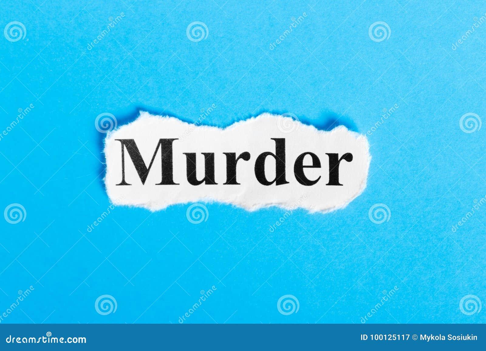 Moordtekst op papier Word Moord op een stuk van document Het beeld van het concept