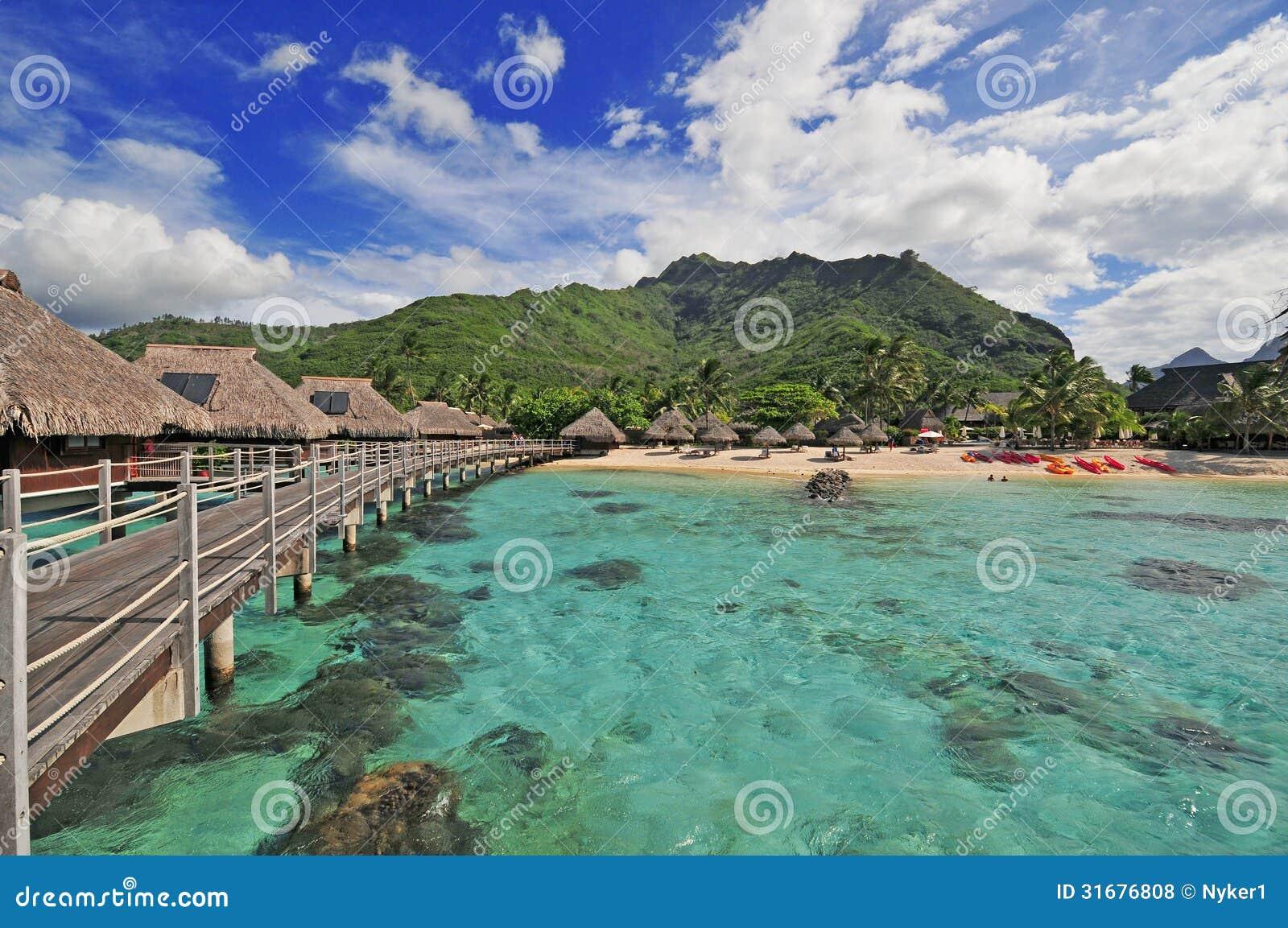 Moorea Island Lagoon In Tahiti French Polynesia Stock Photo