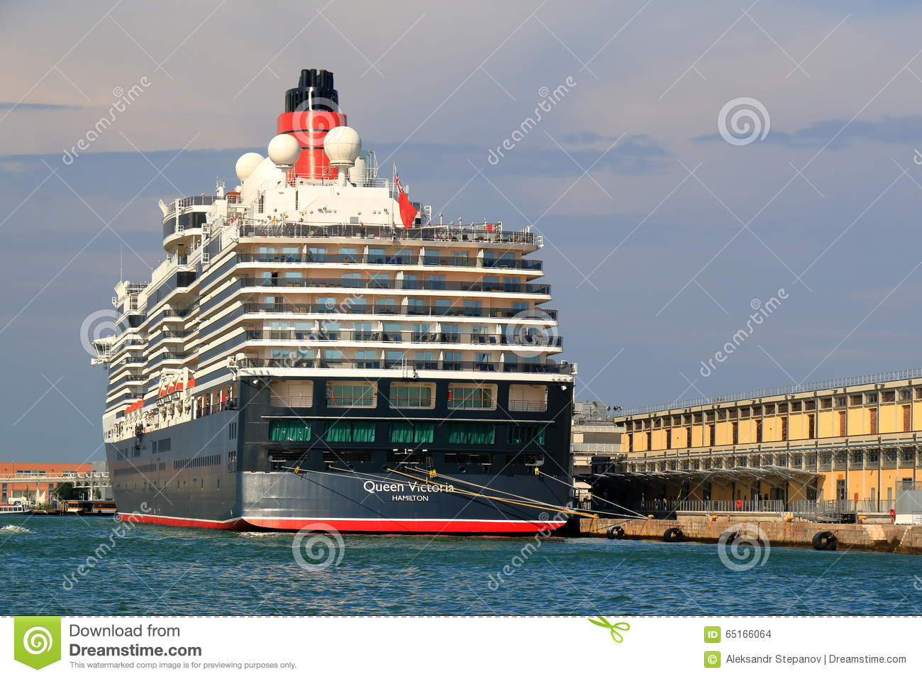 Moored Cruise Ship Queen Victoria In Port Of Venice Italy - Cruise ships in venice port