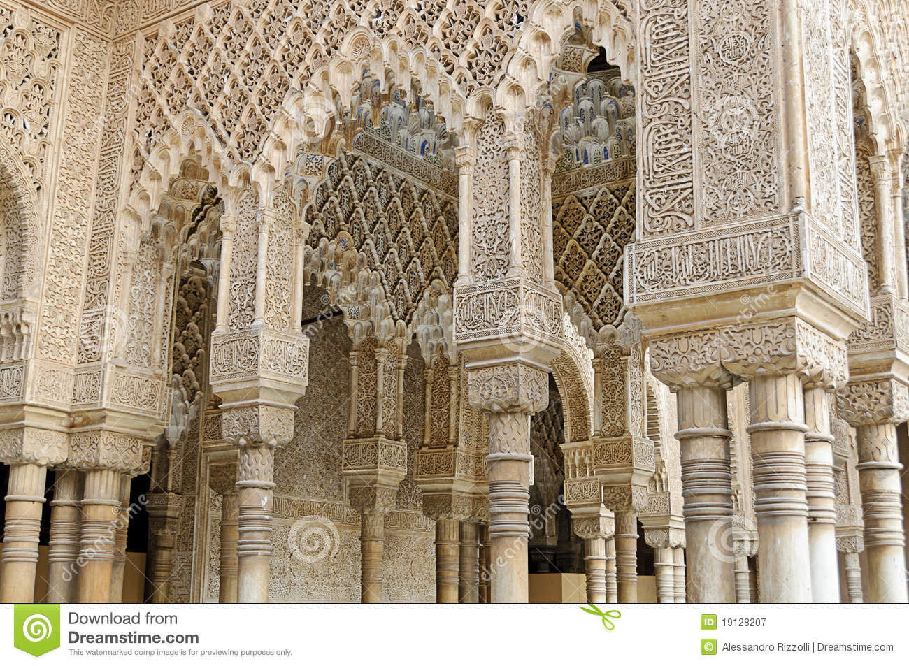 Moorish art and architecture inside the alhambra stock for Art architectural