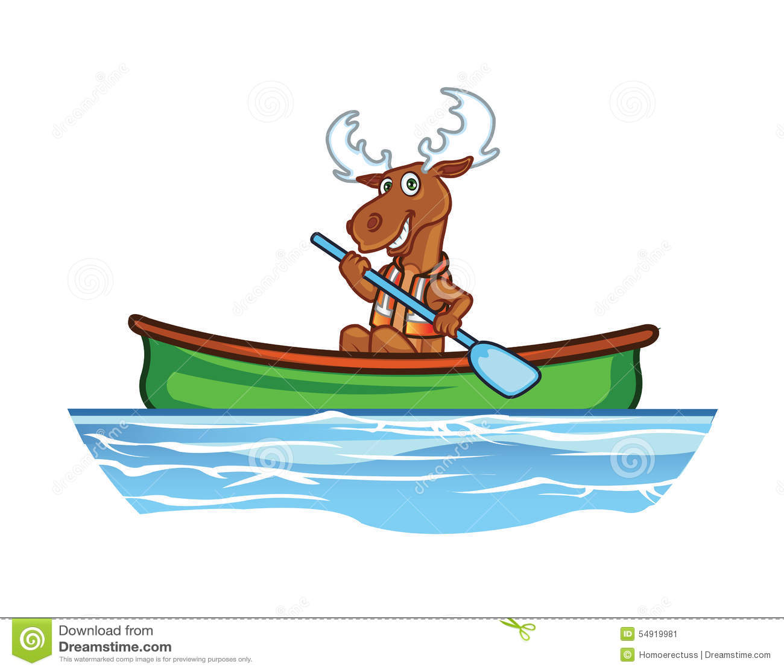 Moose in Canoe Cartoon stock vector. Illustration of ...