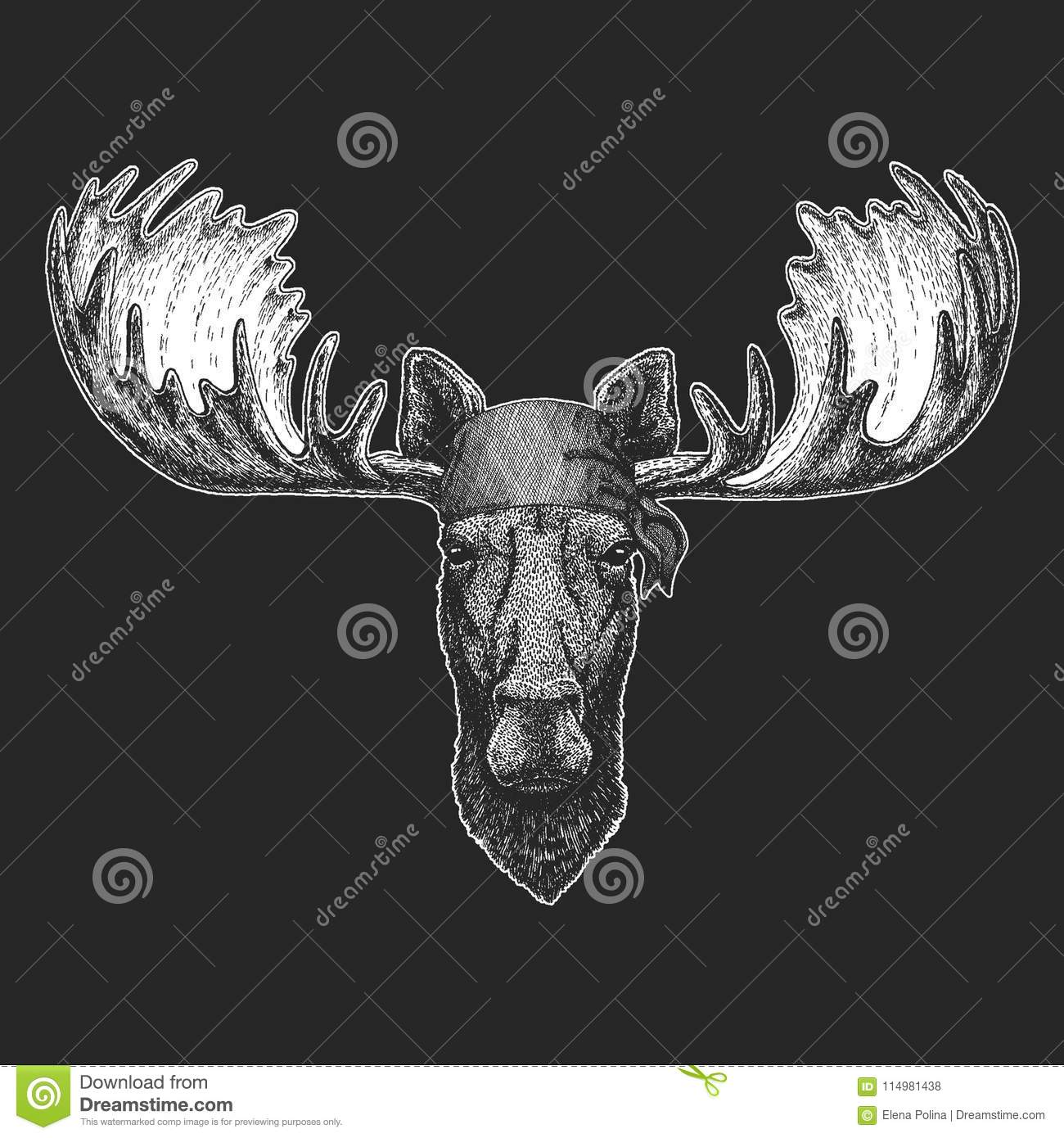 Moose Elk Cool Pirate Seaman Seawolf Sailor Biker