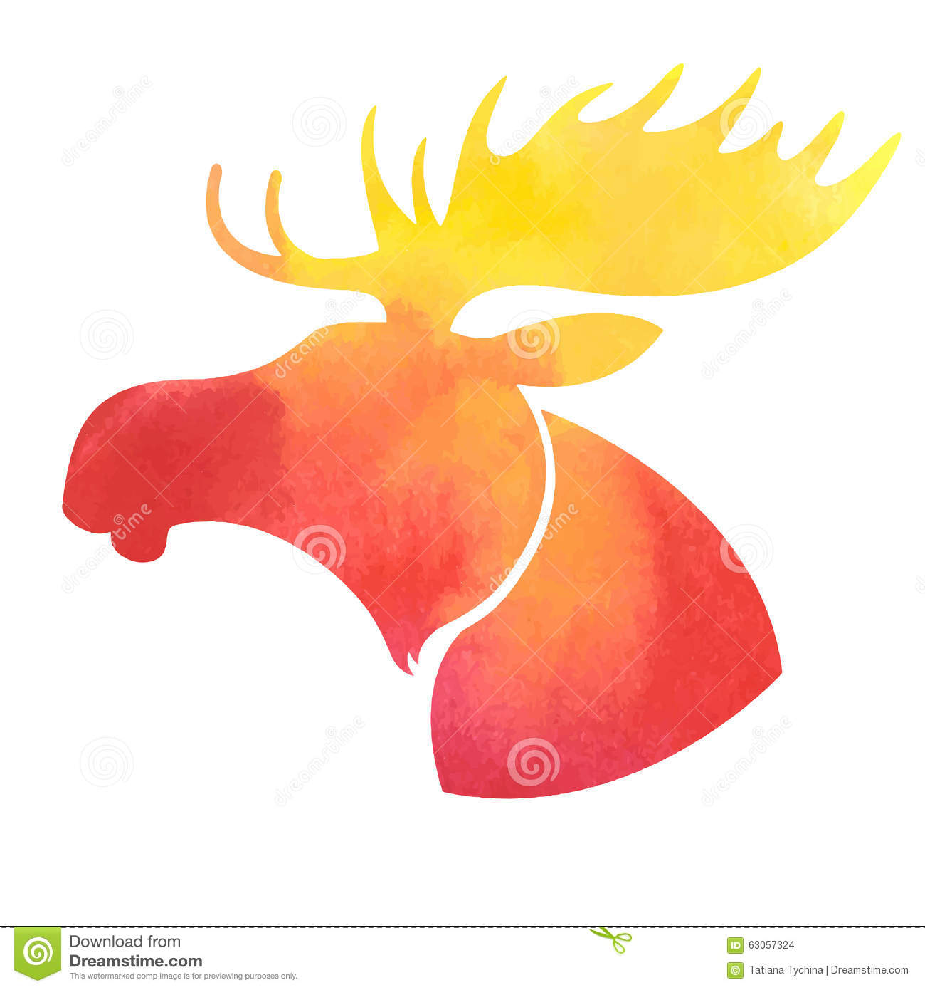 moose head watercolor silhouette on white background stock vector