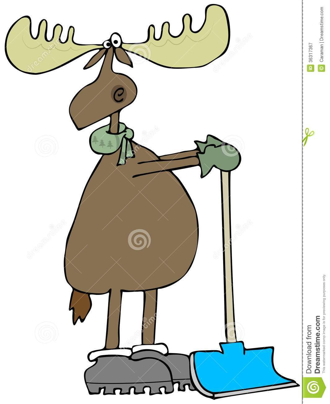 Moose Leaning On A Snow Shovel Royalty Free Stock