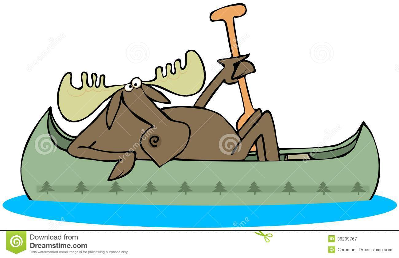 Moose Paddling A Canoe This Illustration Depicts In Holding Paddle