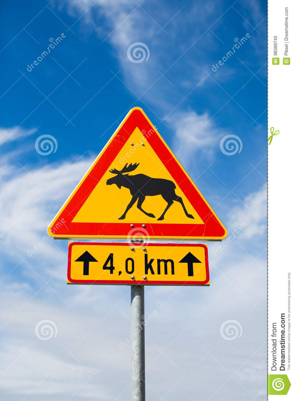 Moose on a road sign