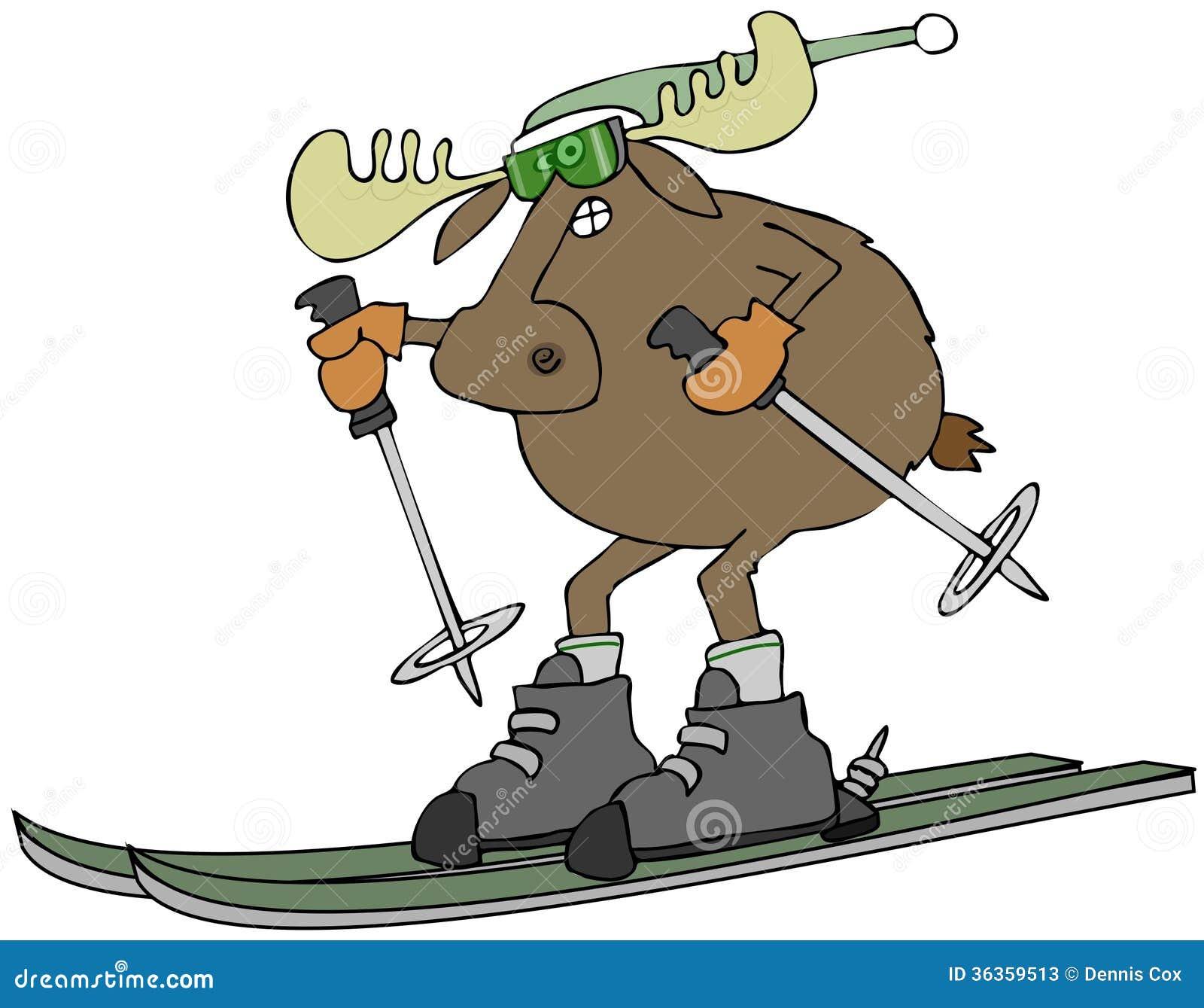Moose On Skis Stock Illustration Illustration Of Stocking
