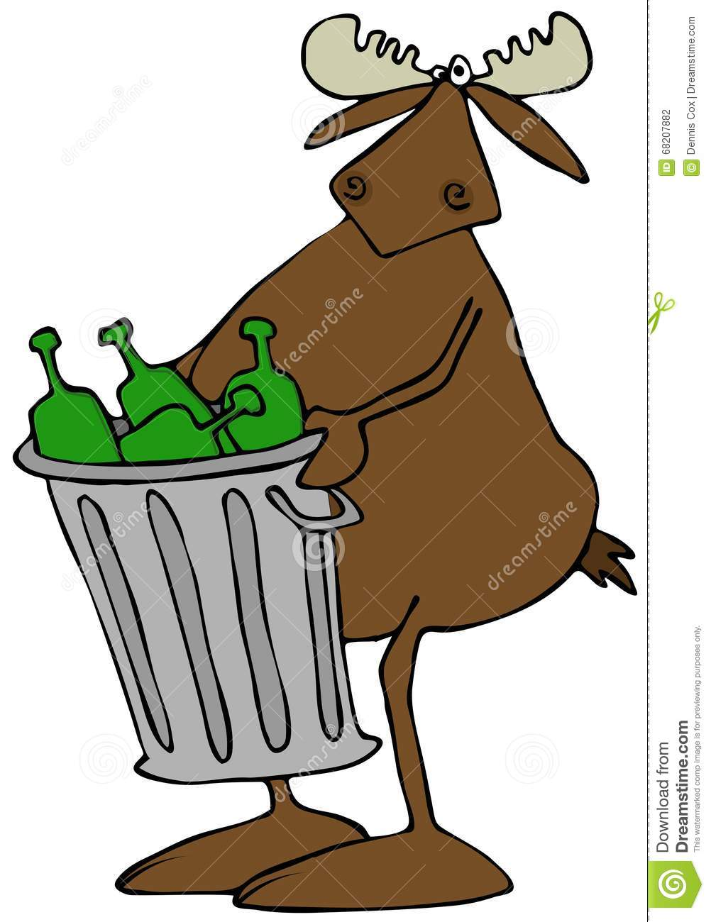 Moose Taking Out The Garbage Stock Illustration ...