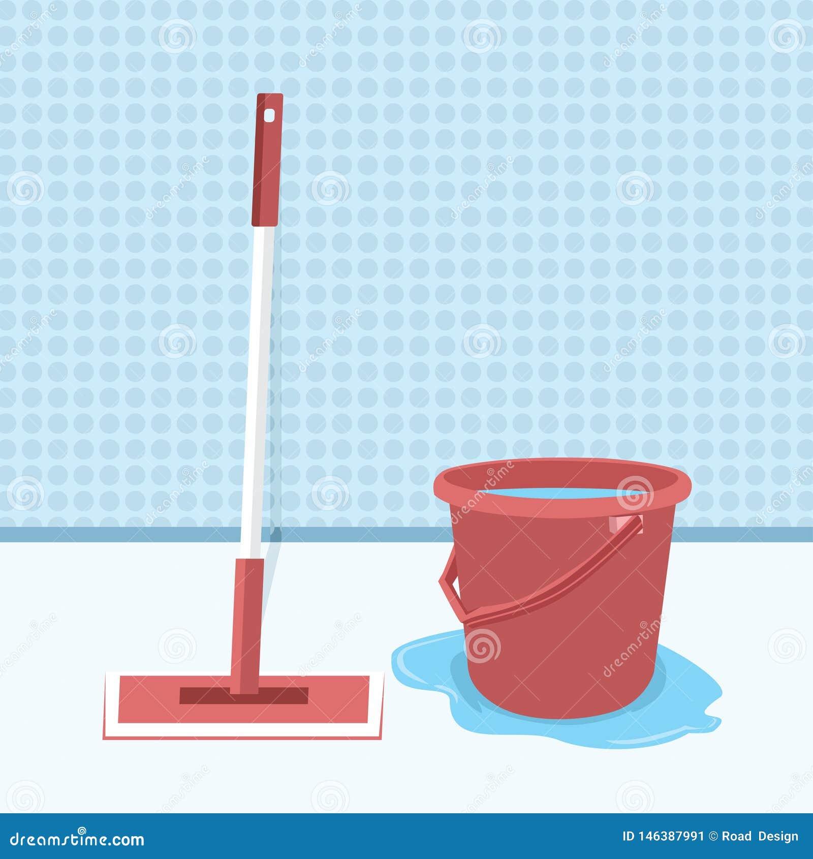 Mop και κάδος με τη διανυσματική απεικόνιση νερού, Mopping το επίπεδο σχέδιο πατωμάτων Υγρός καθαρισμός Καθαρό δωμάτιο Καθαρισμός