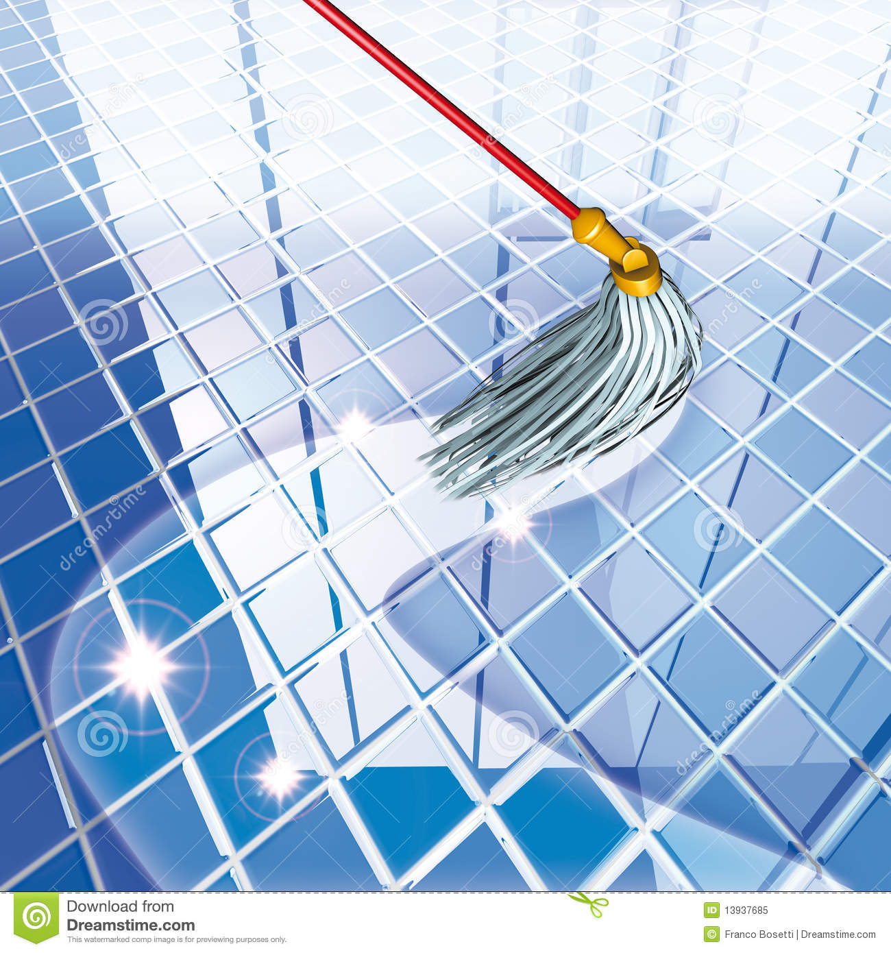 mop blue floor stock illustration image of chequer