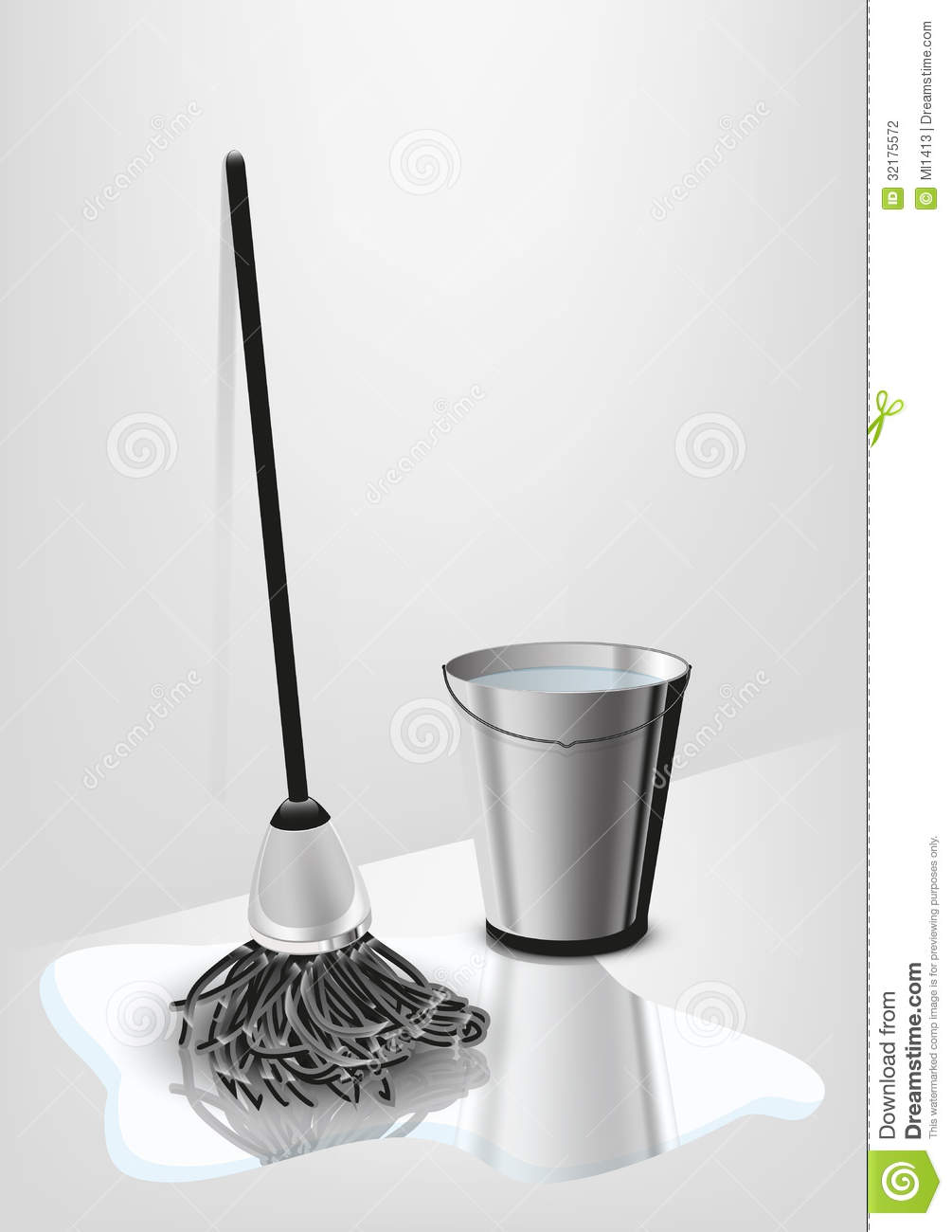 Mop and bucket vector illustration eps 10 abstract form.