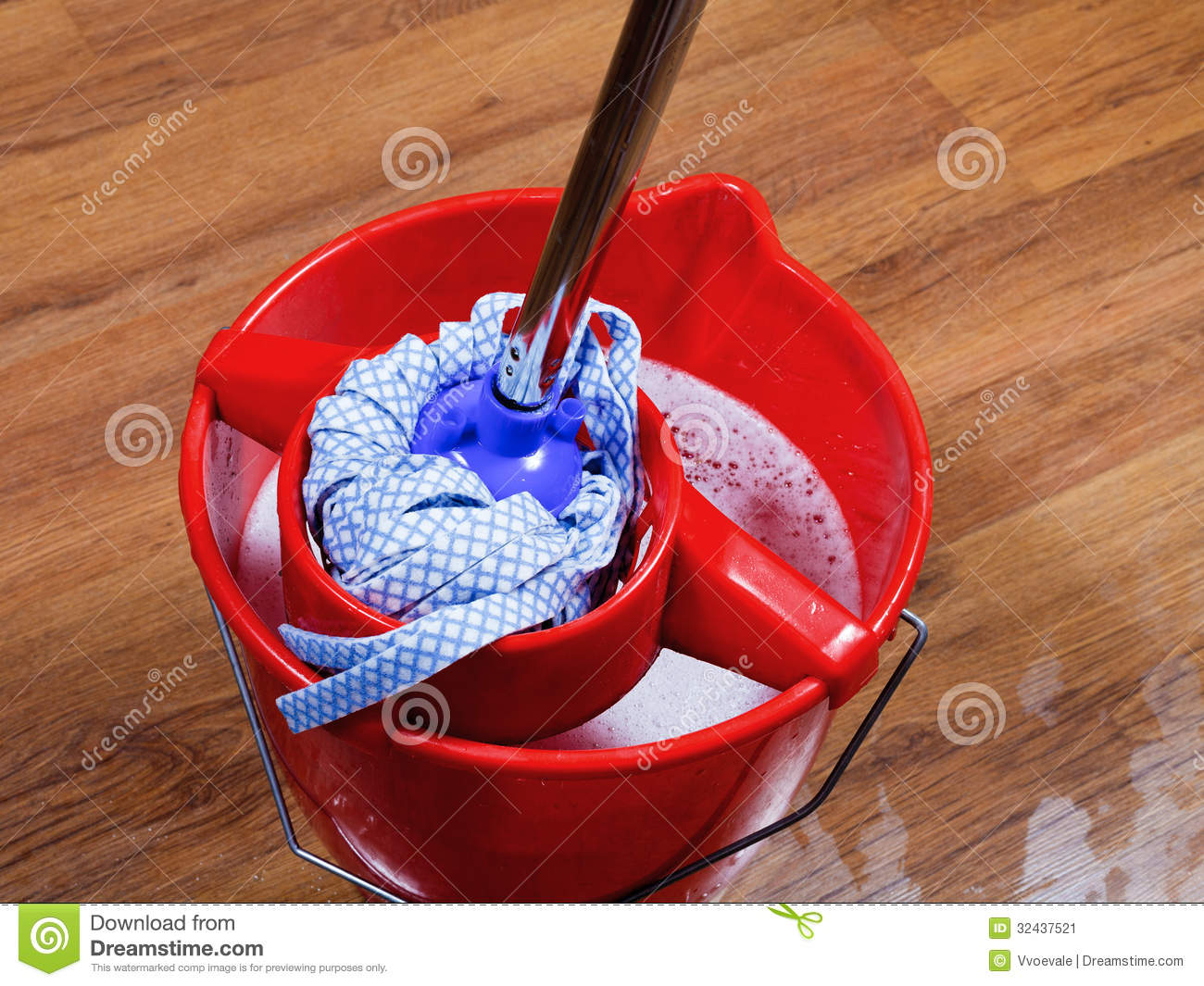 Mop In Red Bucket With Water Stock Image - Image: 32437521
