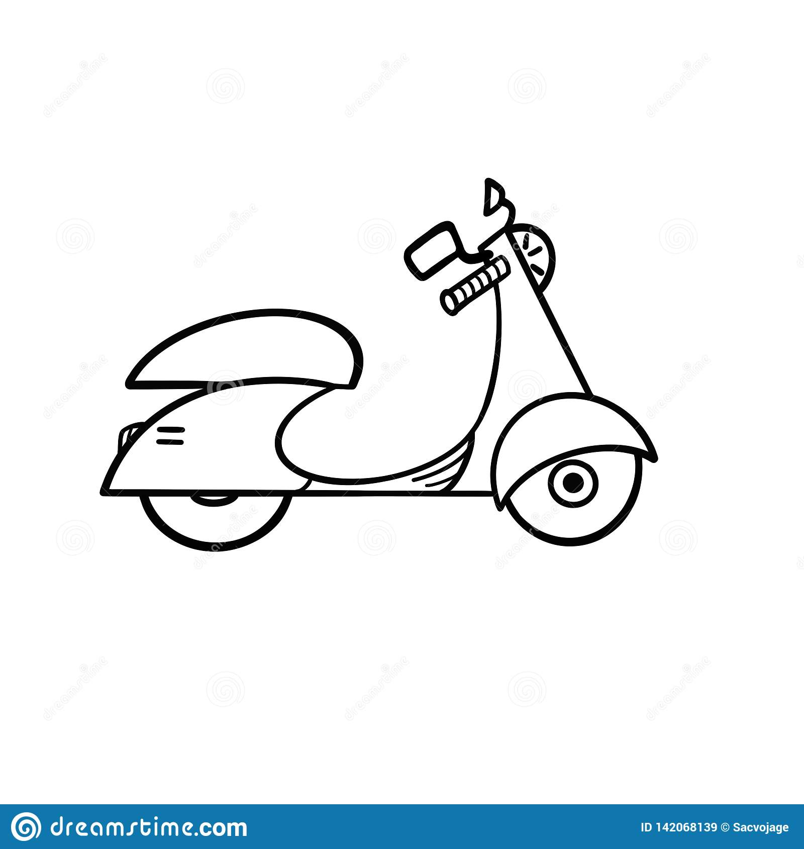 Moped kreskowa ikona Odosobniona ilustracja na białym tle