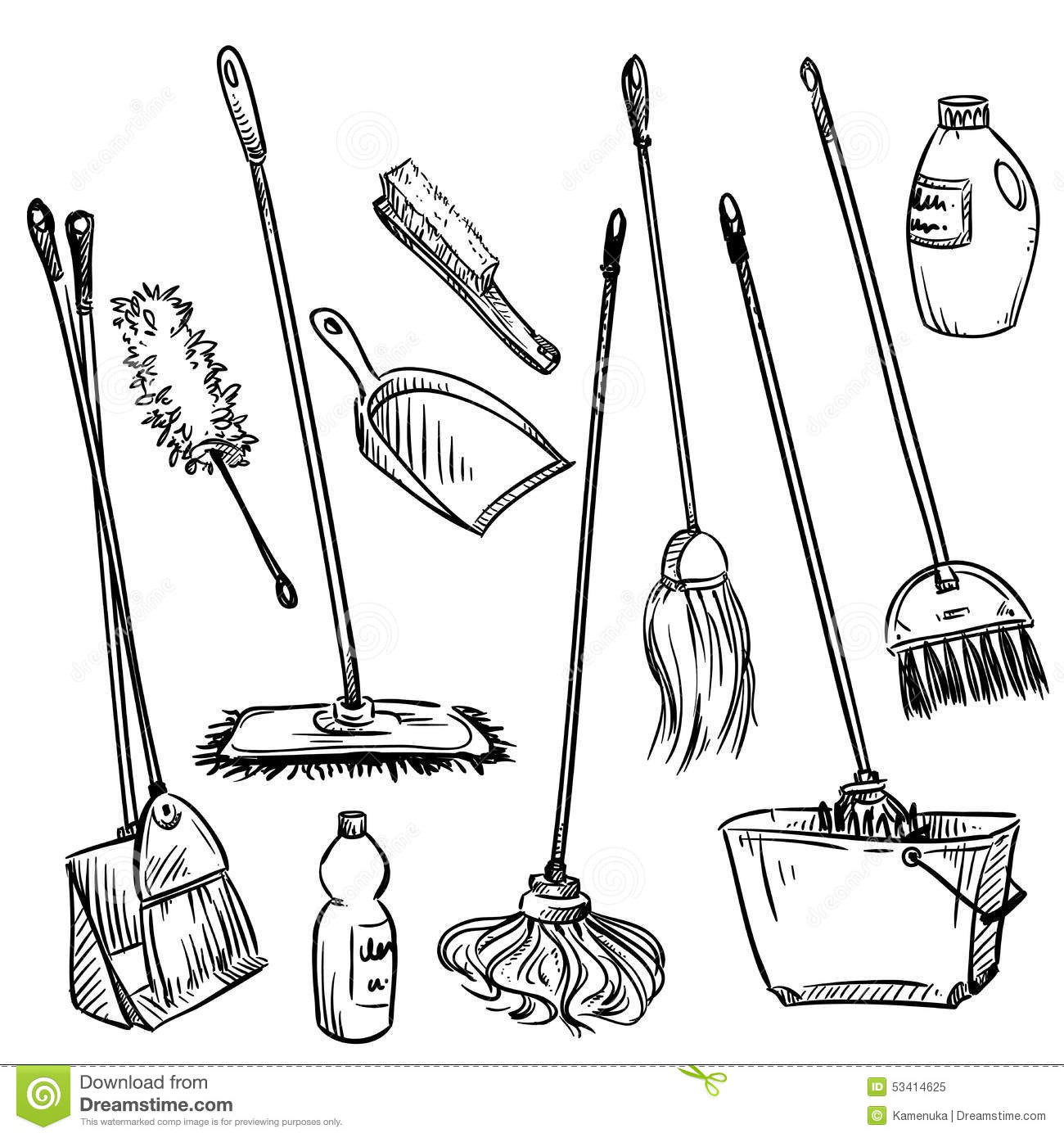 Mops Set Of Cleaning Tools Stock Vector Image 53414625