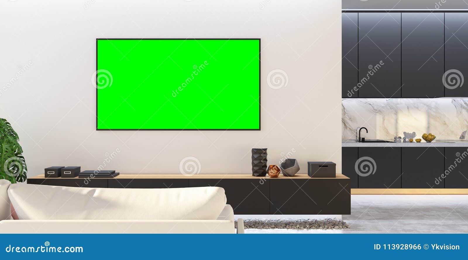 Moquerie Blanche Noire Du Salon Tv Avec Le Sofa Cuisine Console