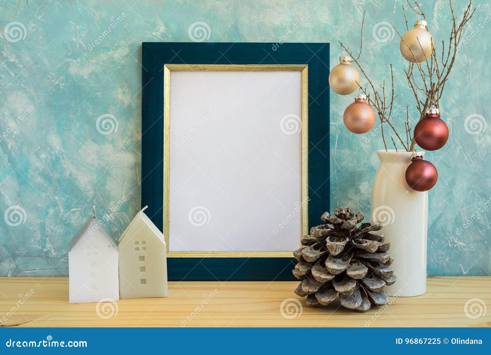 Moquerie bleue et d 39 or de cadre no l nouvelle ann e for Cadre pour maison
