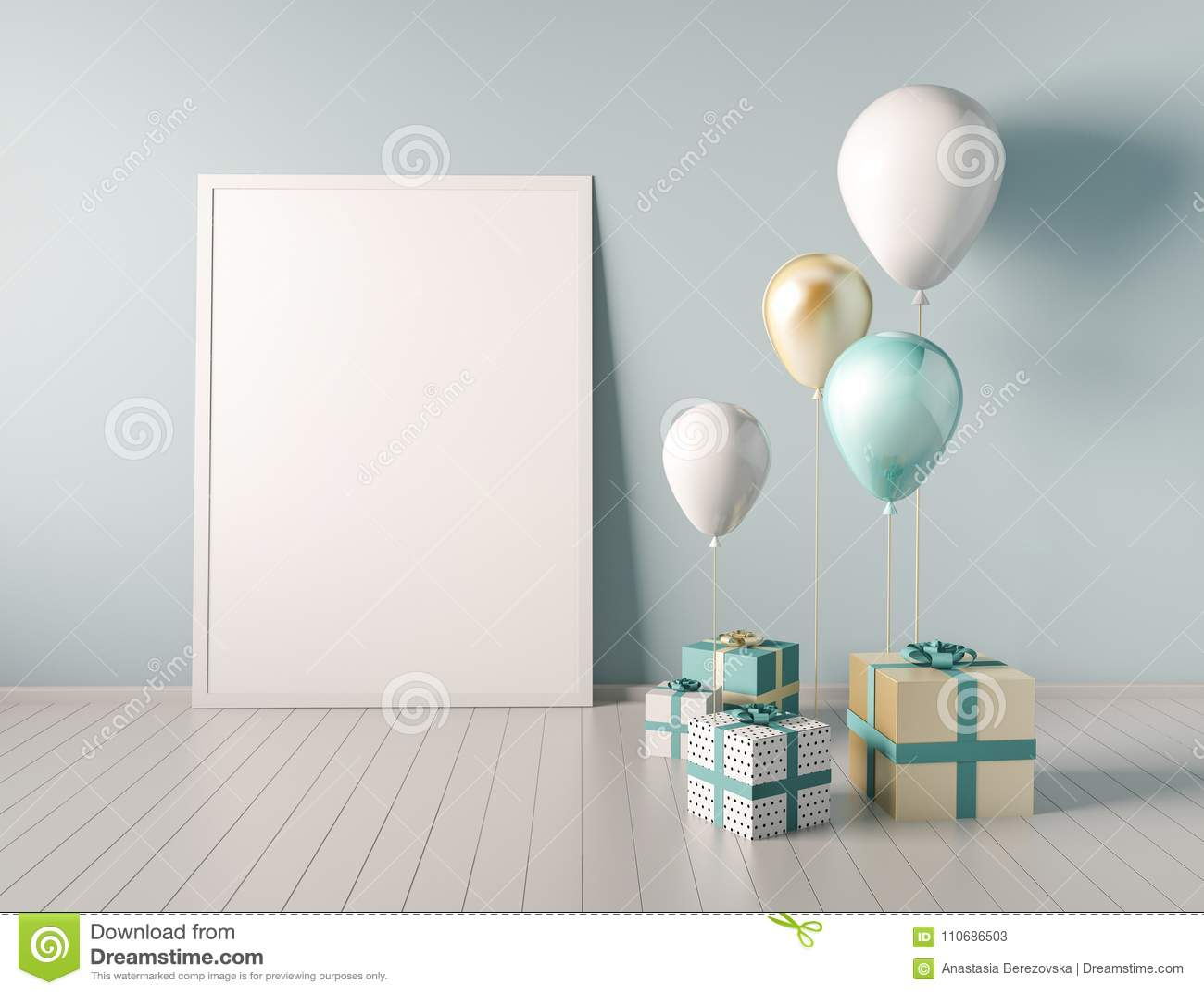 Moquerie d intérieur vers le haut de scène avec le bleu et les boîte-cadeau et les ballons d or 3d brillant réaliste objecte pour