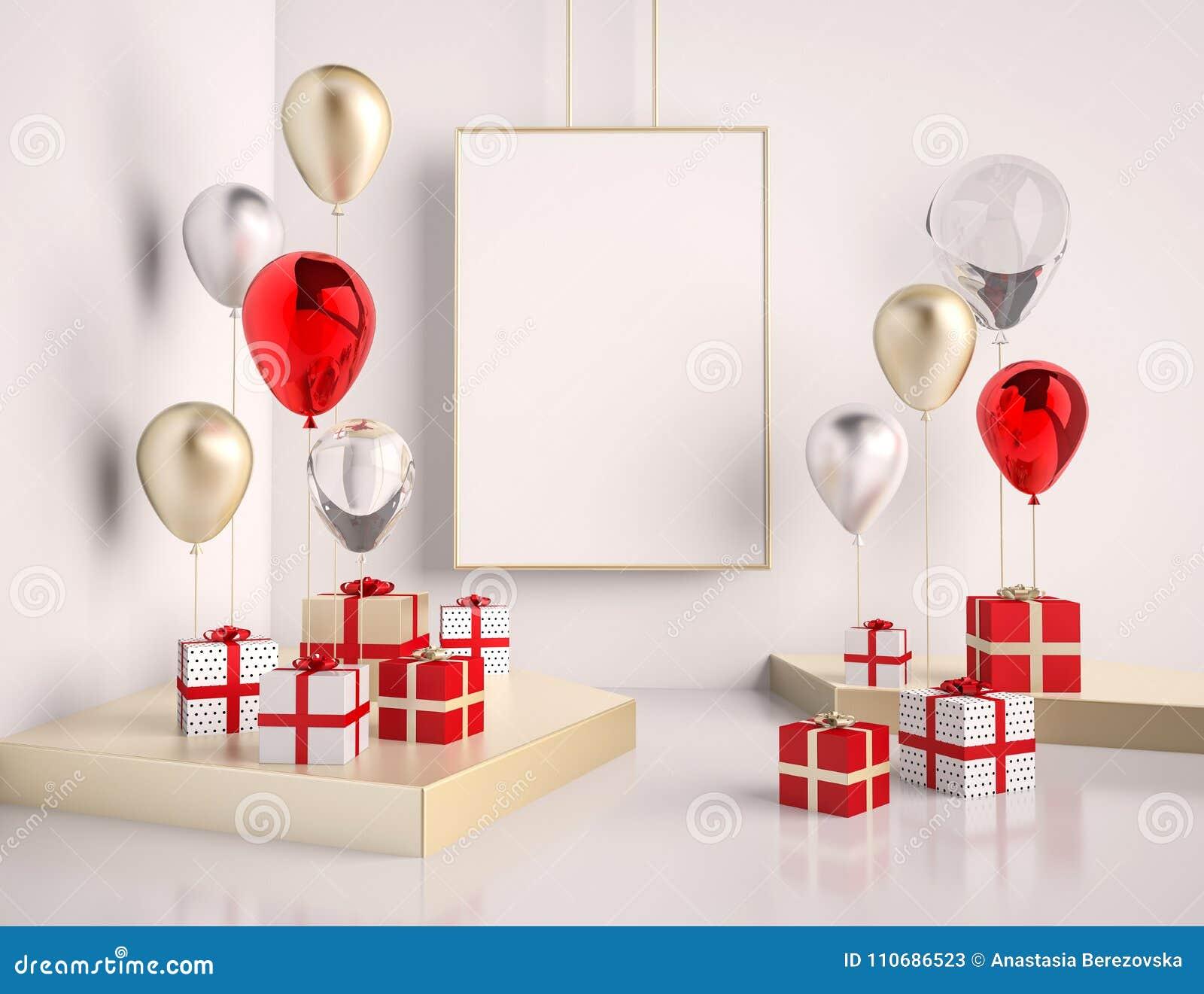 Moquerie d intérieur vers le haut de scène avec le rouge et les boîte-cadeau et les ballons d or 3d brillant réaliste objecte pou