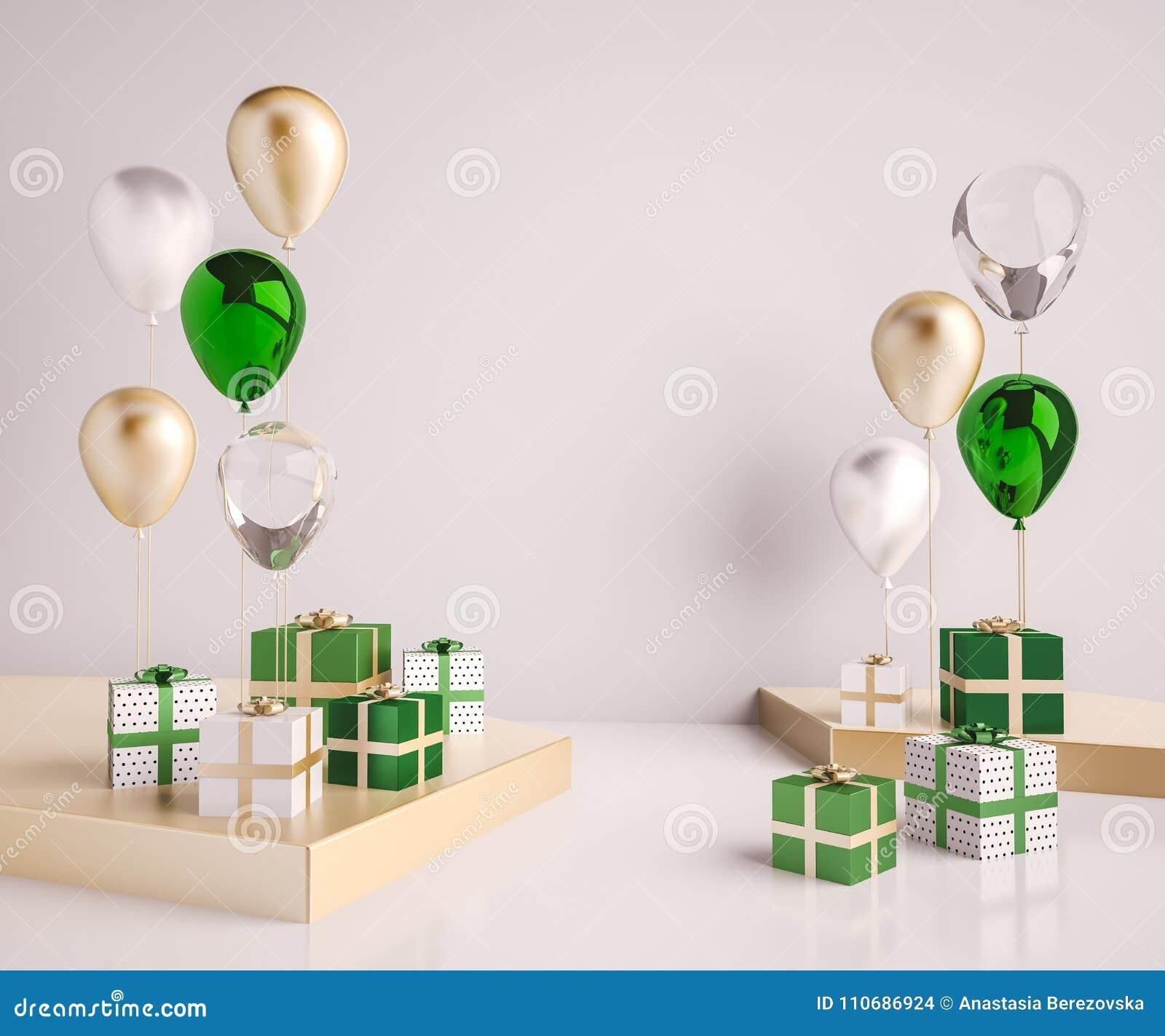 Moquerie d intérieur vers le haut de scène avec le vert et les boîte-cadeau et les ballons d or 3d brillant réaliste objecte pour