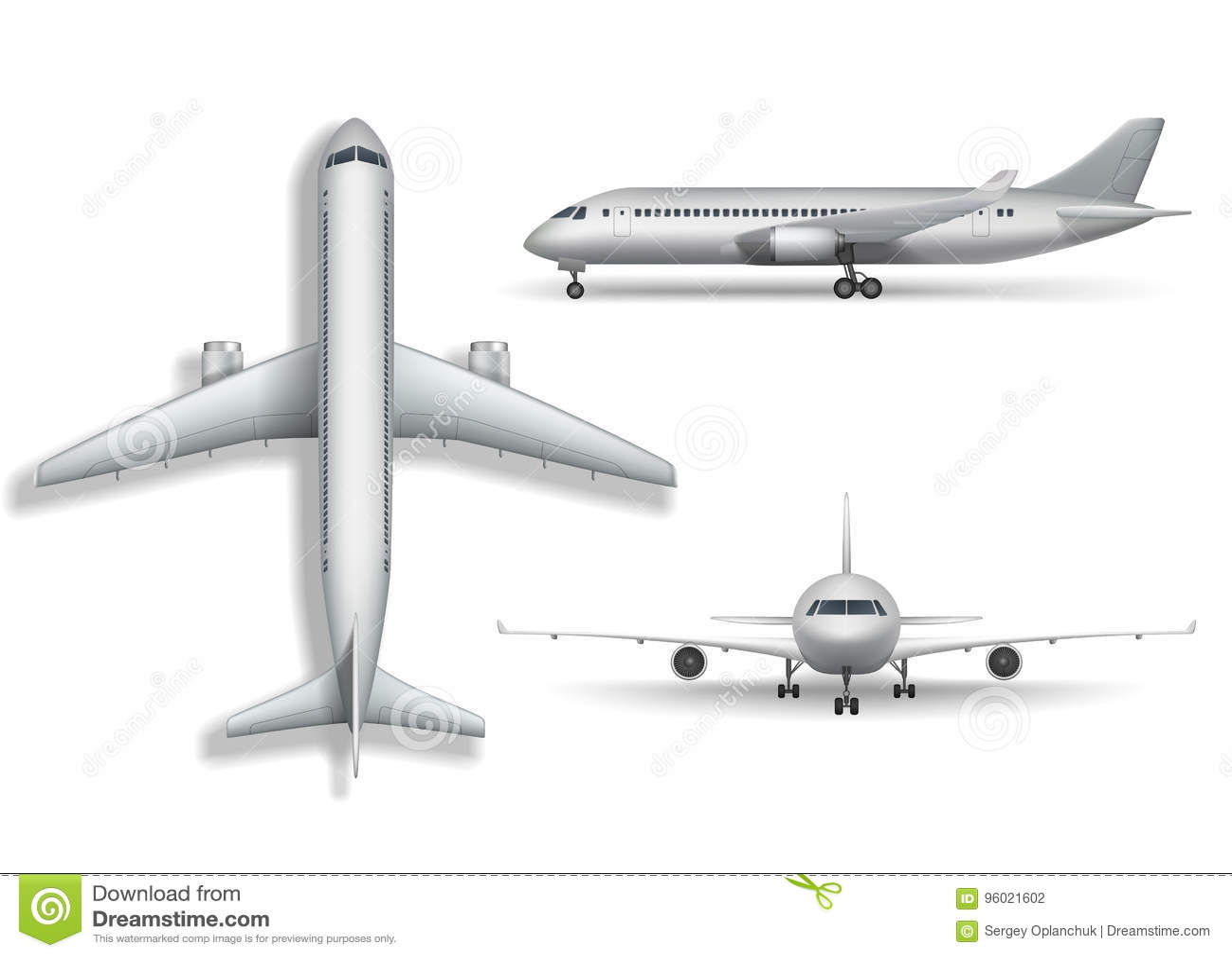 Moquerie réaliste argentée d avion d isolement Avions, illustration de l avion de ligne 3d sur le fond blanc Ensemble d avion d a