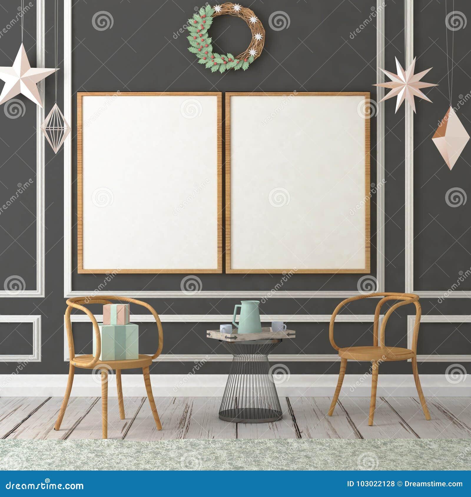 Moquerie vers le haut d affiche dans l intérieur de Noël illustration 3D 3d rendent