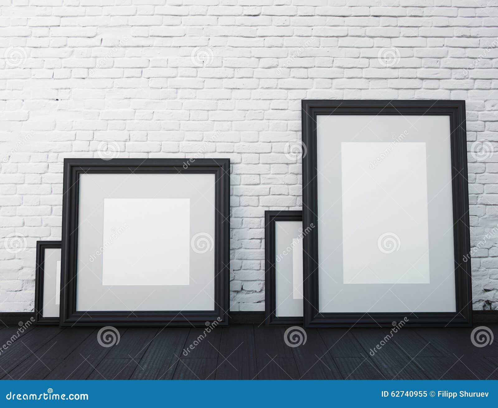 moquerie vers le haut de cadre cadres noirs sur le mur blanc dans l 39 int rieur illustration stock. Black Bedroom Furniture Sets. Home Design Ideas