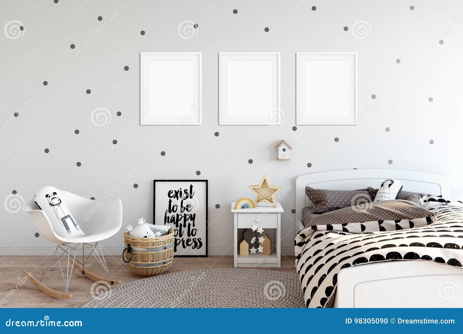 Moquerie Vers Le Haut De Mur Dans L\'intérieur De Chambre D\'enfant ...