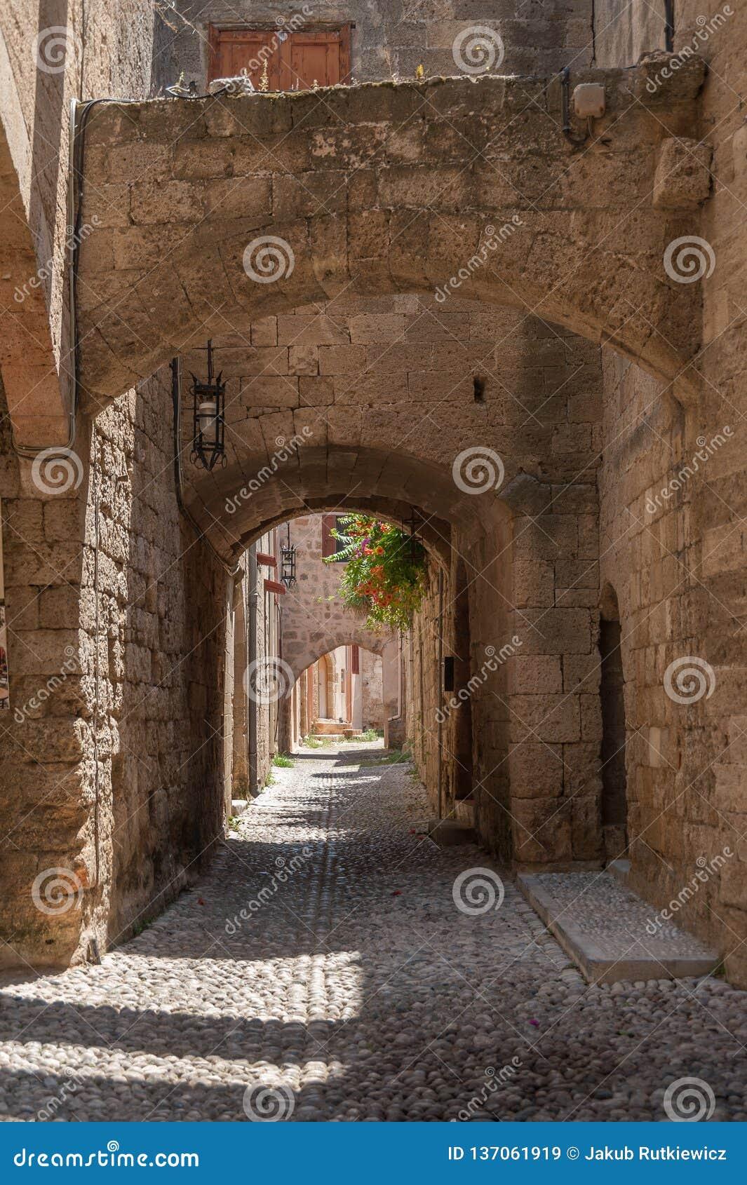 Moradia medieval residencial na parte histórica da baixa Console do Rodes Greece europa