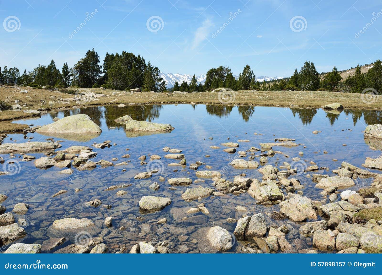 Moraine που πλημμυρίζουν με meltwater στην κοιλάδα madriu-Perafita-Claror