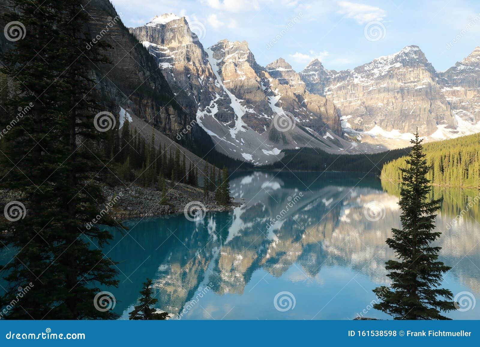 Moraine Lake In Banff National Park Alberta Canada Stock