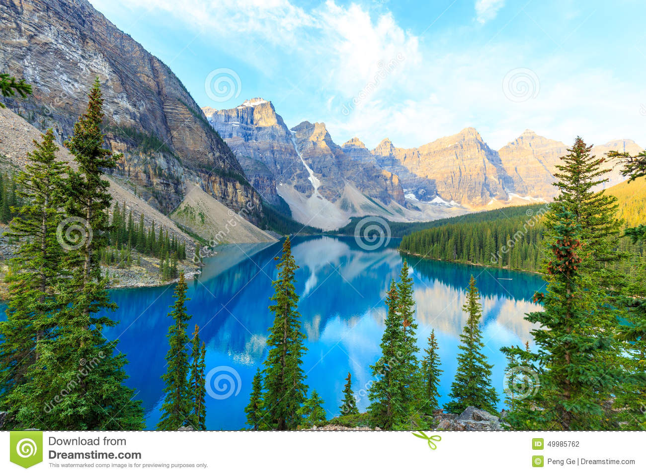 Idyllic Moraine Lake in Banff National Park, Canadian Rockies.