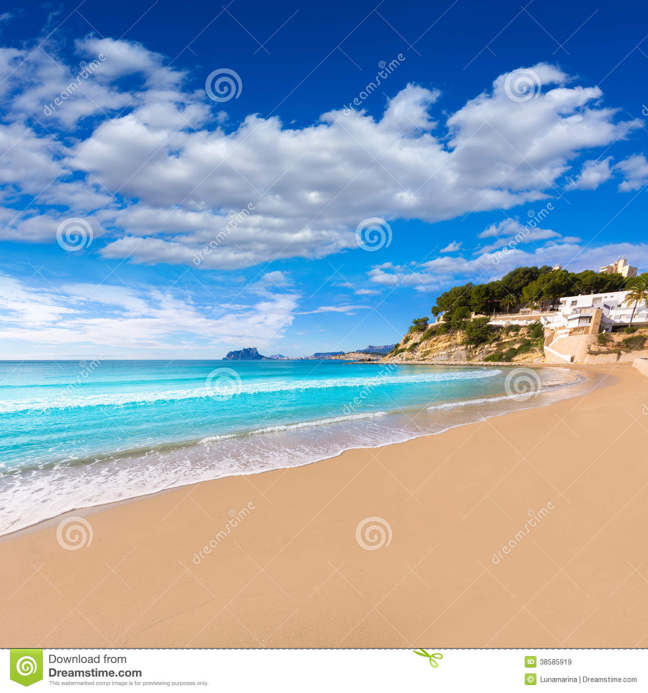 Long Stay Vacations In Spain: Moraira Beach Turquoise Water In Alicante Royalty Free