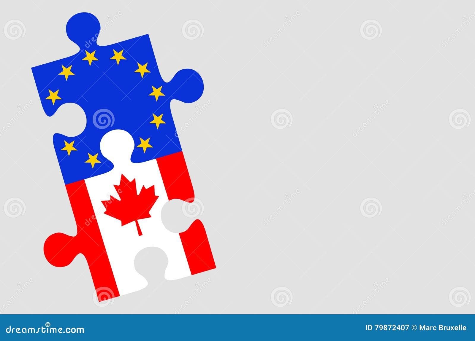 Morceaux de puzzle de drapeau de l Europe et de Canada