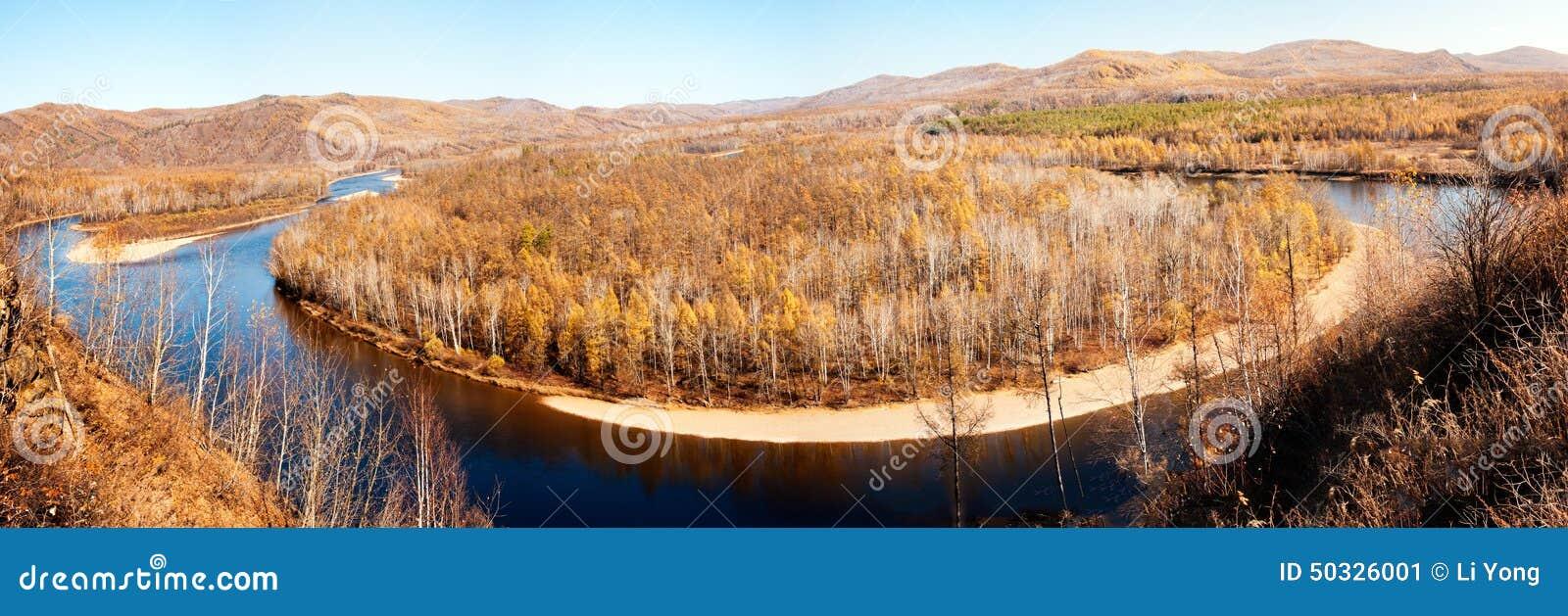 Hulun Buir China  city pictures gallery : Mordaga Autumn Scenery panorama Stock Photo Image: 50326001