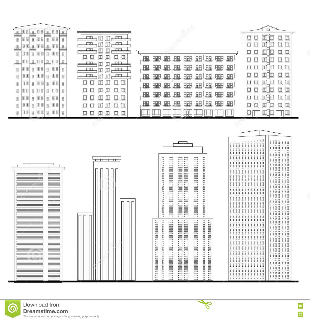 Morden building set city skyline elements architectural for Complete set of architectural drawings pdf