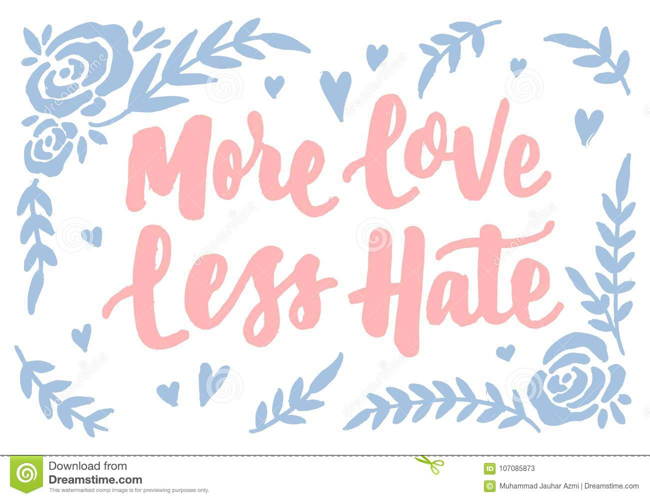 More Love Less Hate Vintage Hand Lettering Typography Quotes Poster