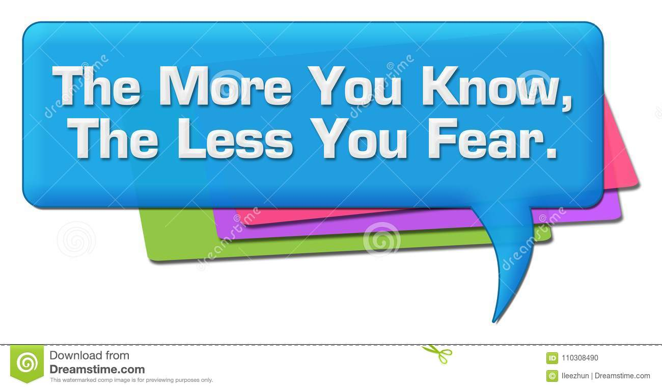 More You Know Less You Fear Colorful Comment Symbol Stock