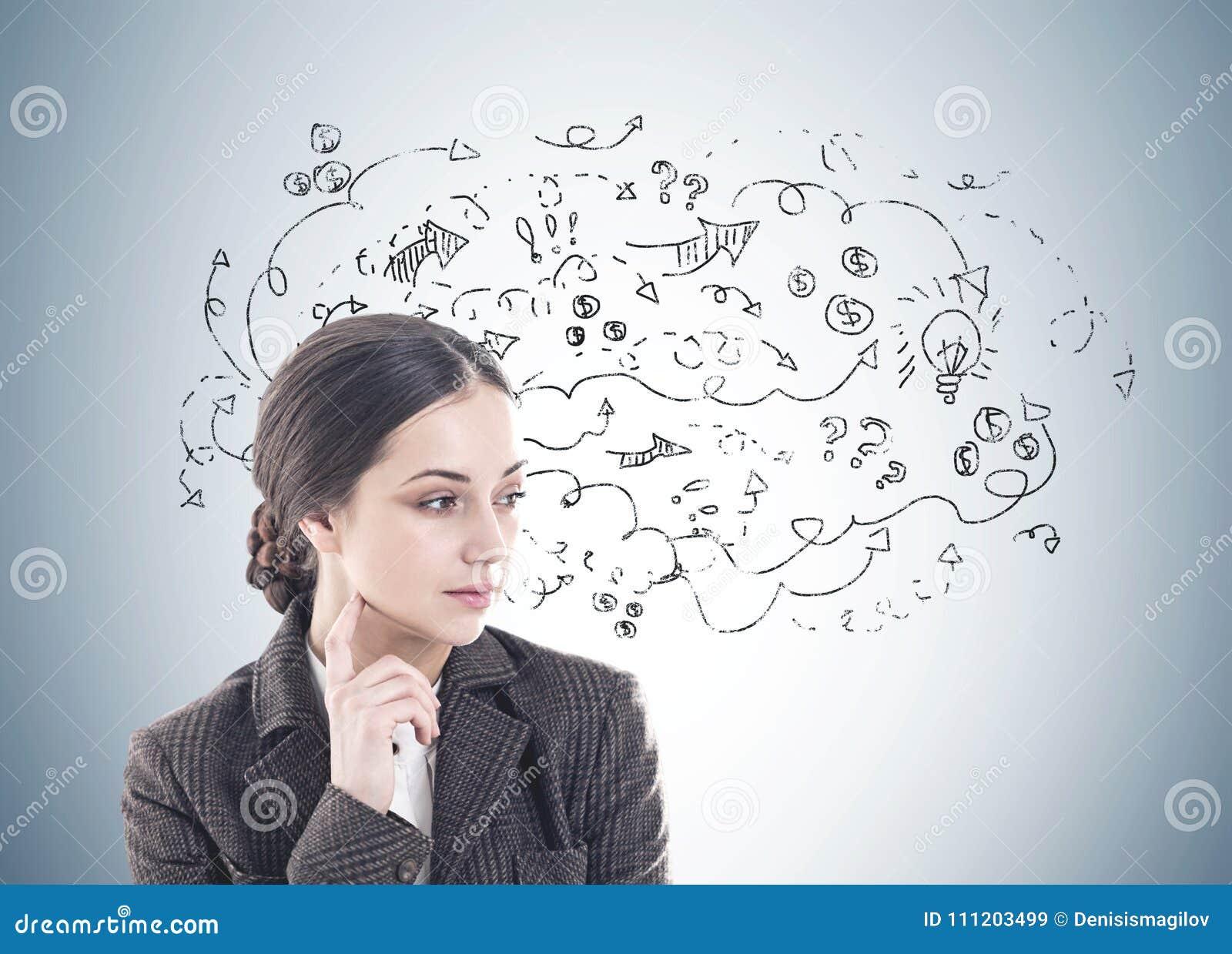 e98a0bdb0f La mujer joven pensativa con el pelo oscuro largo que lleva un traje está  pensando Ella está mirando la situación oblicua cerca de una pared gris con  un ...