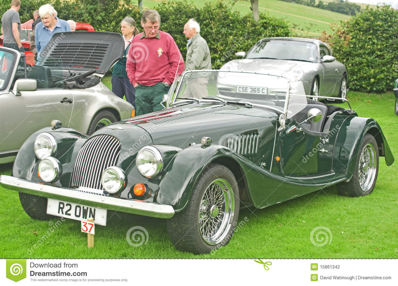 An image of a Morgan Classic car displayed at the Fortrose Classic Car