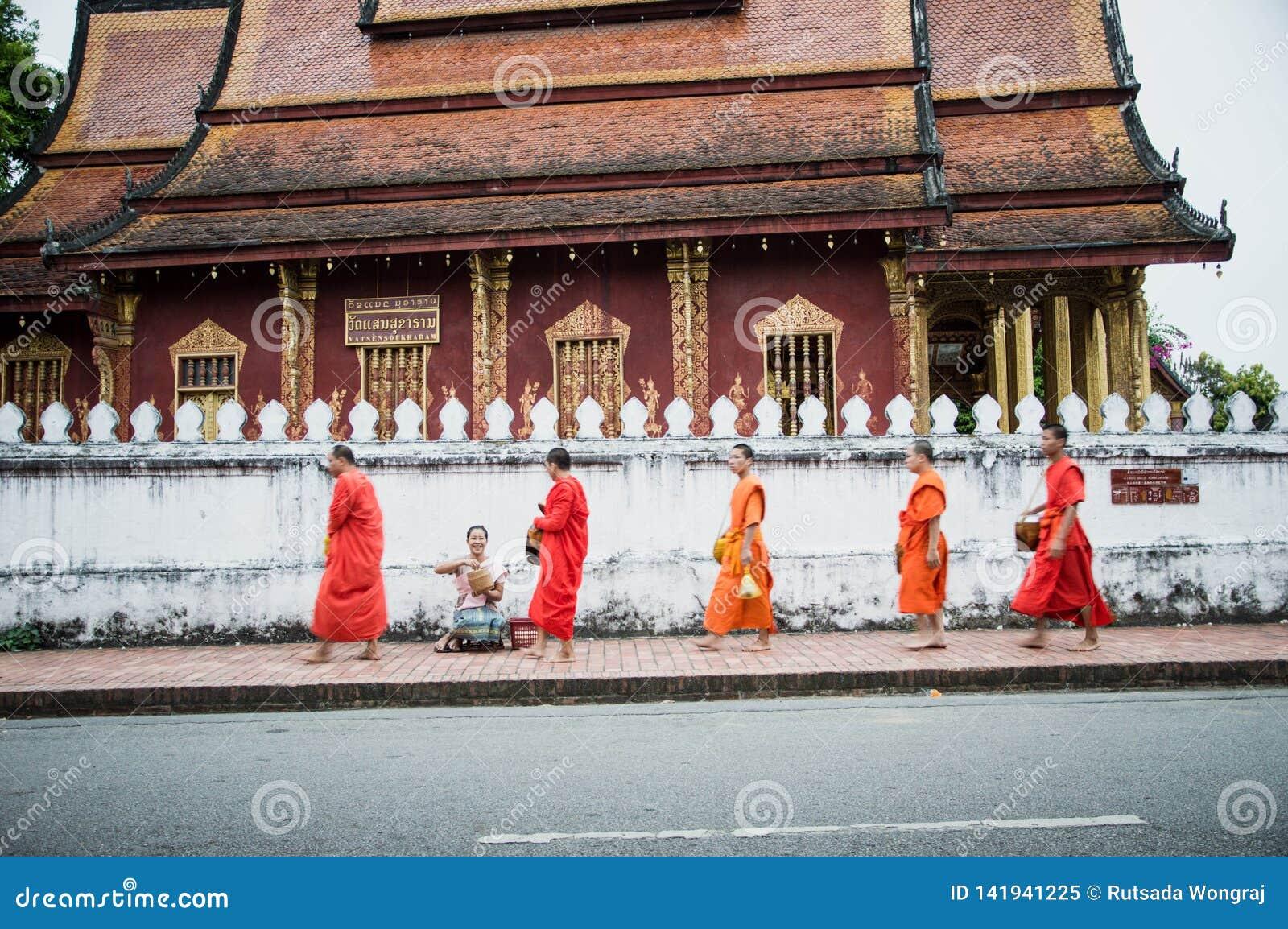 Morgenalmosen, die bei Luang Prabang, Laos anbieten