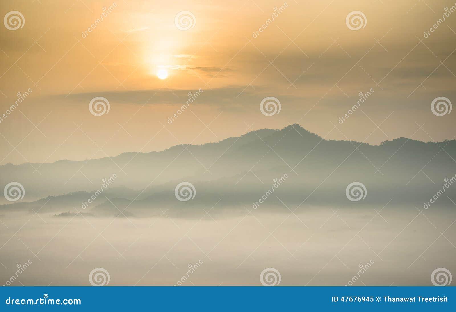 Morgennebel bei Phu Lang Ka, Thailand