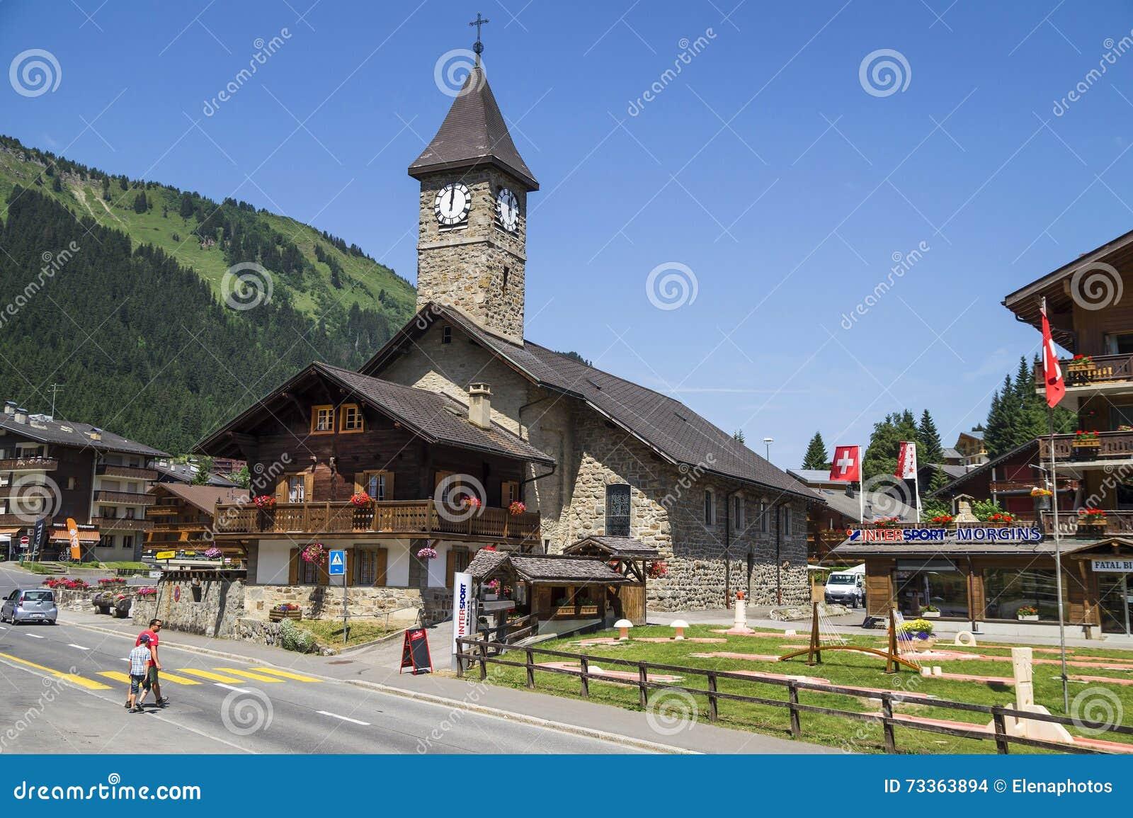 morgins village in the alps,switzerland editorial stock image