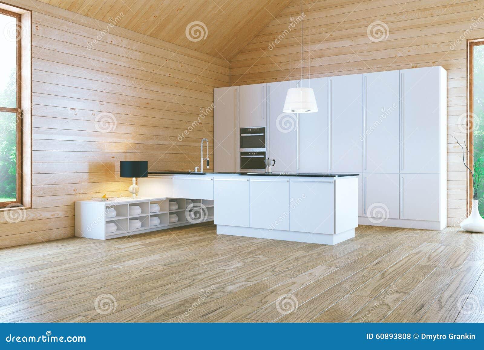 Morgon i stilfullt vitt modernt kök arkivfoto   bild: 60893808